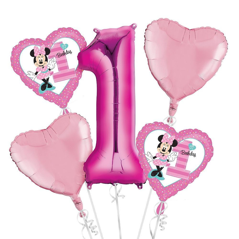 Baby Minnie Mouse 1st Birthday Balloon Bouquet 5pc Party