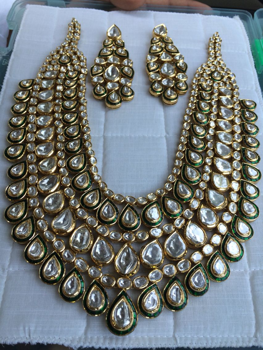 Bridal Polki Necklace With Earrings Diy Costume Jewelry