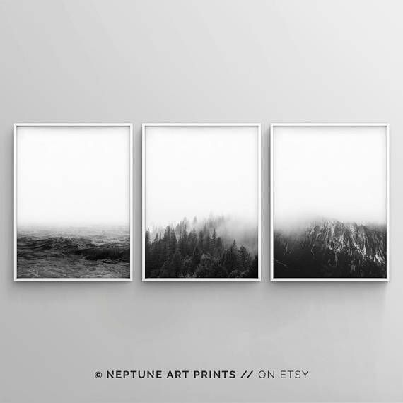 Minimalist landscape printable set modern landscape wall art black and white minimalistic nature set of 3 poster scandinavian nordic art