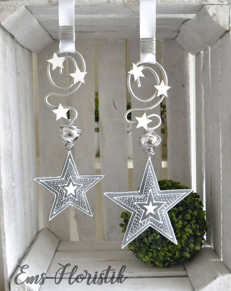 Photo of Window decoration star metal gray-white 15.5 cm country house, vintage, pearl shaped wire | …