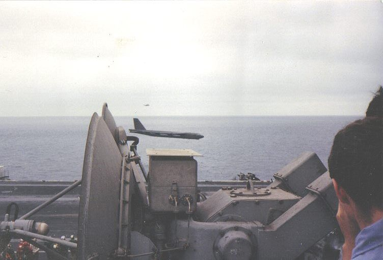 This a picture of the same B-52 shot from the USS Ranger