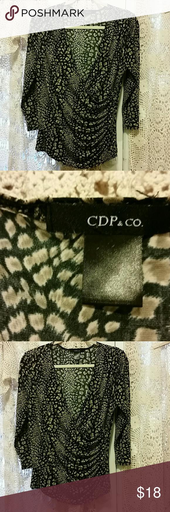 e371a3acae925f Vintage CPD&Co women's L Leopard print Brown Vintage brown and black leopard  print CPD & Company women's top flattering wrap front size large  three-quarter ...