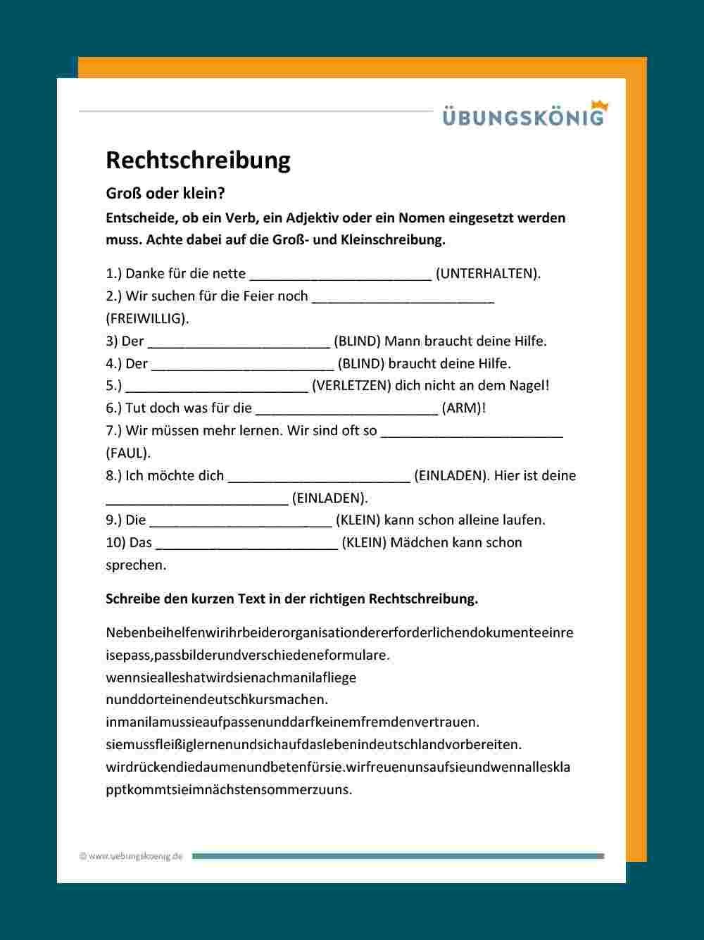Groß  und Kleinschreibung   Deutsch unterricht, Deutsch lernen ...