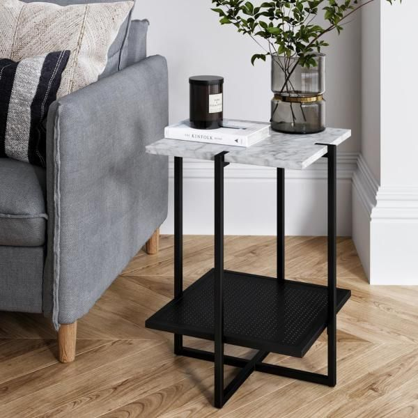 Nathan James Myles White Marble Top And Black Metal Base 2 Tier Modern Accent Table 32604 Modern Accent Tables Marble Side Tables End Tables