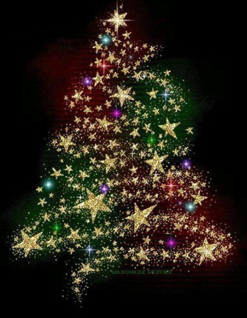 A Tree Of Stars Merry Christmas Gif Christmas Tree Glitter Animated Christmas