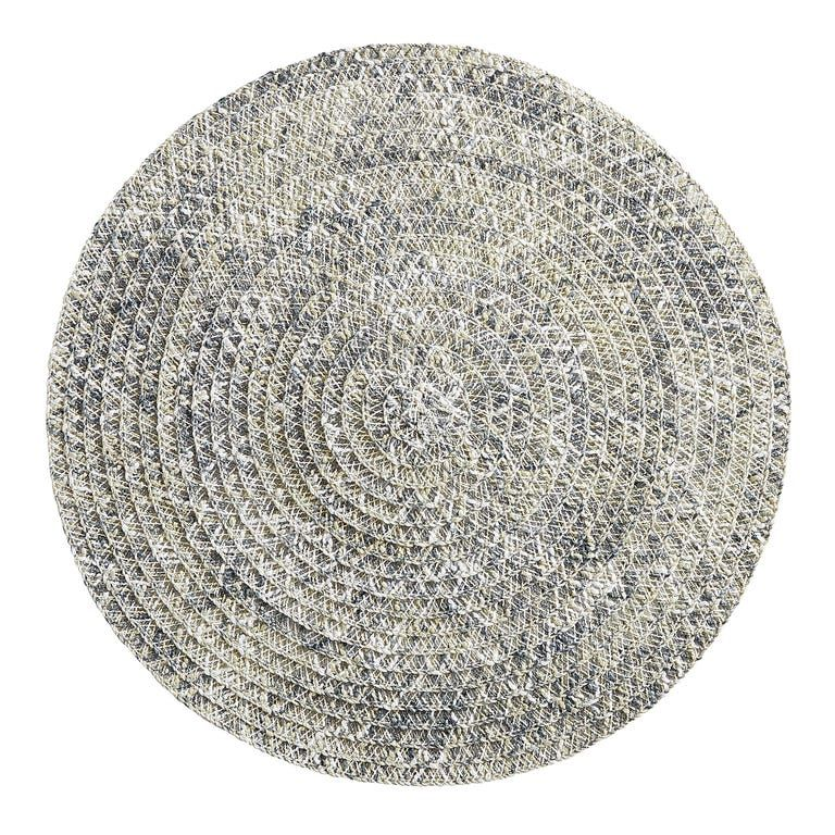 Woven Gray Amp Blue Round Placemat In 2020 Grey Placemats