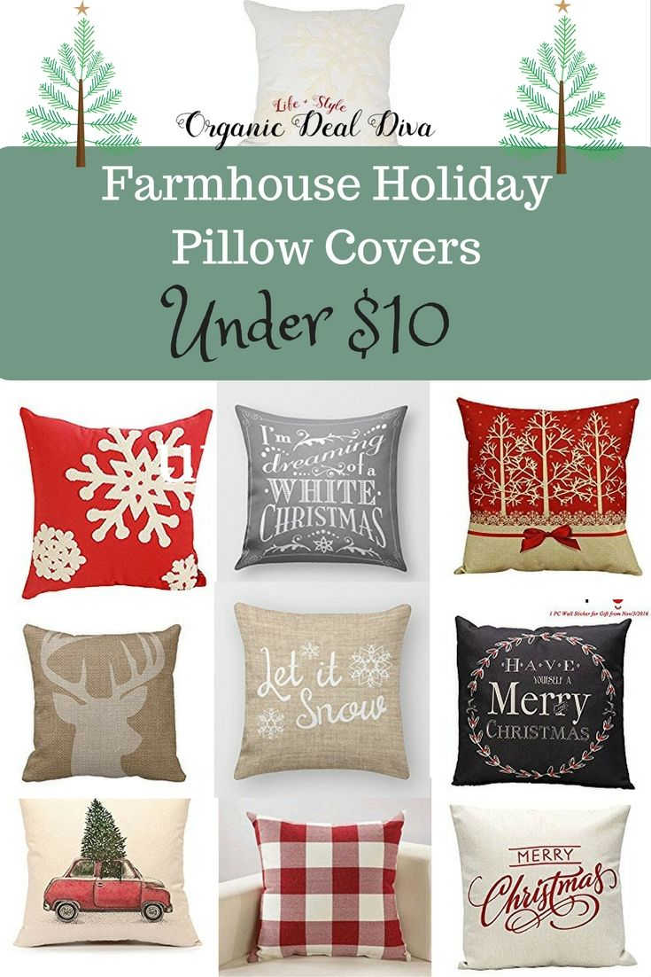 Holiday Farmhouse Pillow Covers Under 10 Holiday Pillows Covers