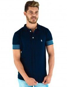 Camisa Polo Masculina Punho Largo Azul (Azul Marinho)  c10dd2e98f931