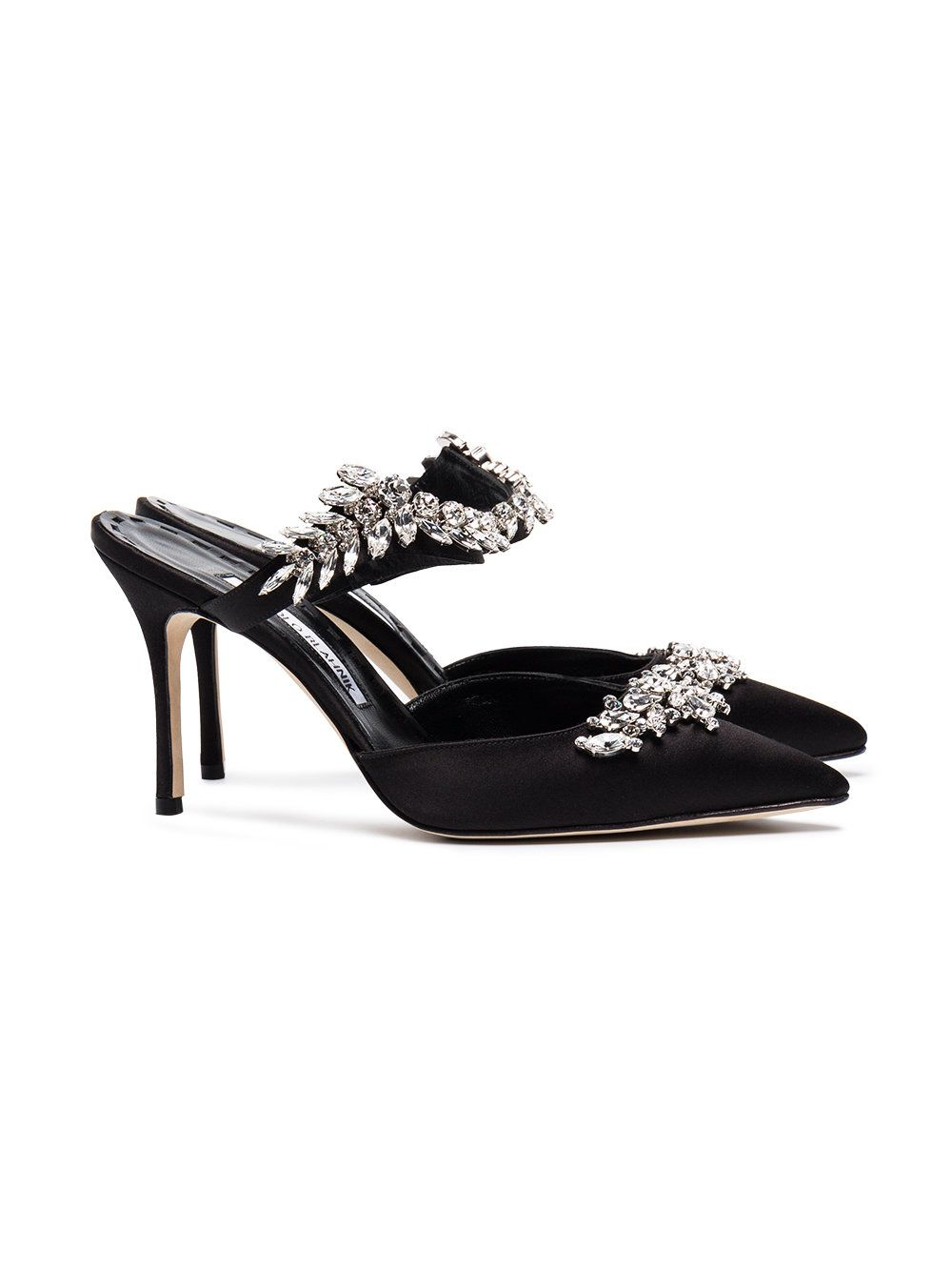 bbe8d2d93f Manolo Blahnik Black Satin Lurum Crystal 90 Mules - Farfetch Black Satin,  Manolo Blahnik Heels