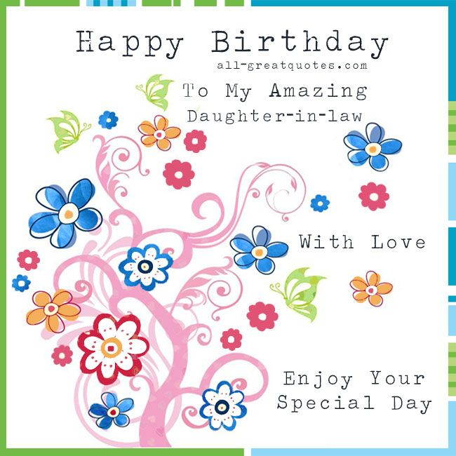 Happy Birthday to my amazing Daughterinlaw With Love Enjoy – Happy Birthday Daughter in Law Cards