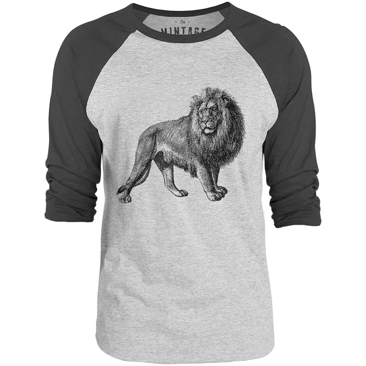 Mintage Majestic Lion 3/4-Sleeve Raglan Baseball T-Shirt (Grey Marle / Charcoal)