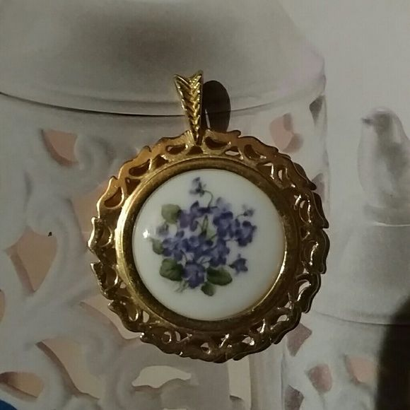 Pendant by Danbury Mint Collection BONE CHINA Blue floral ...