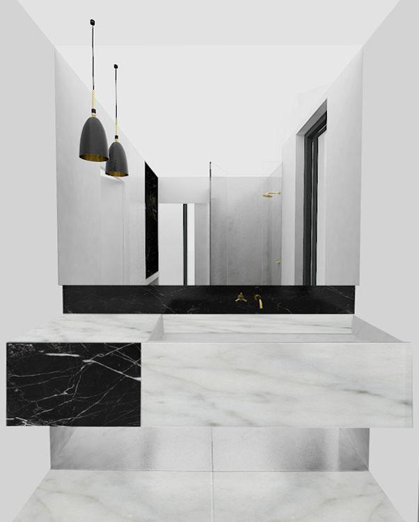 SDB parentale Meuble vasque sur mesure en marbre