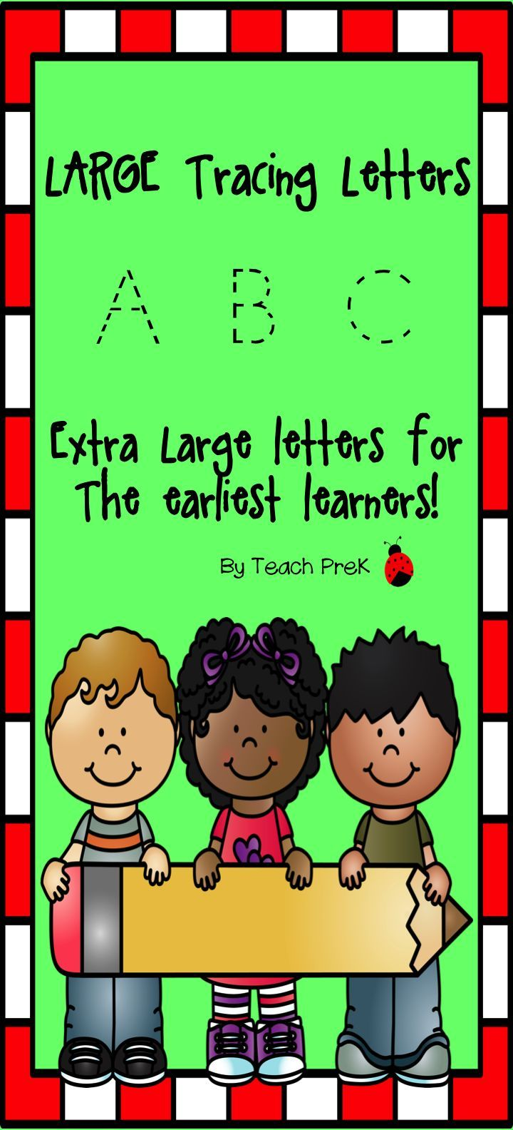 Handwriting Practice: Extra Large Trace Font Alphabet Color & B&W ...