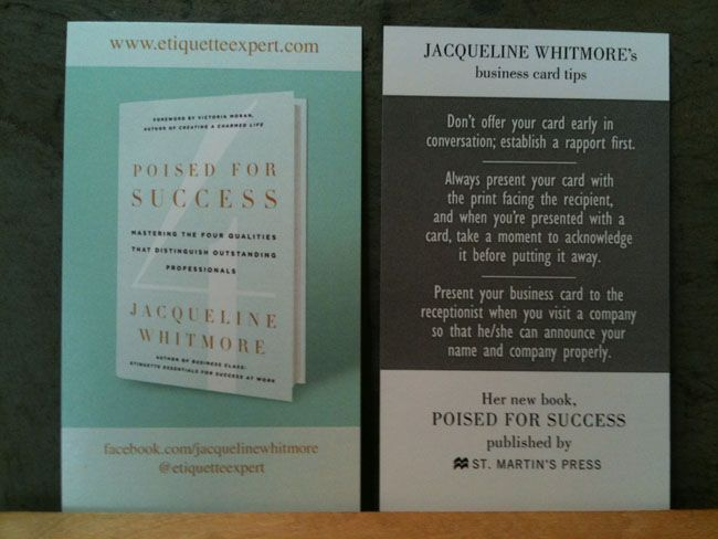 Author Business Card Jacqueline Whitmore  Business Card Ideas For
