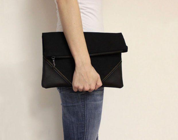 8d9df560d81 Black Foldover Clutch Bag, Clutch Purse, Large Black Clutch, Oversized Fold  Over Clutch, Zipper Clutch,Large Clutch Bag,Black Foldover Purse
