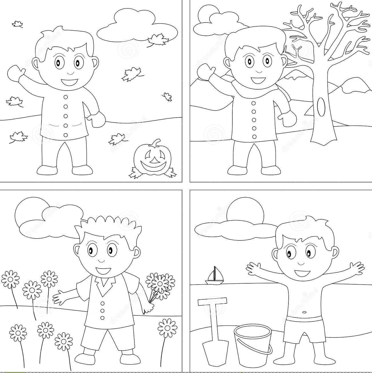 Predownload: Akramul97 I Will Draw Coloring Book Page For Children For 5 On Fiverr Com In 2021 Seasons Preschool Seasons Worksheets Seasons Kindergarten [ 1303 x 1300 Pixel ]