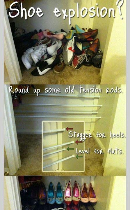 Diy shoe rack from shower rods
