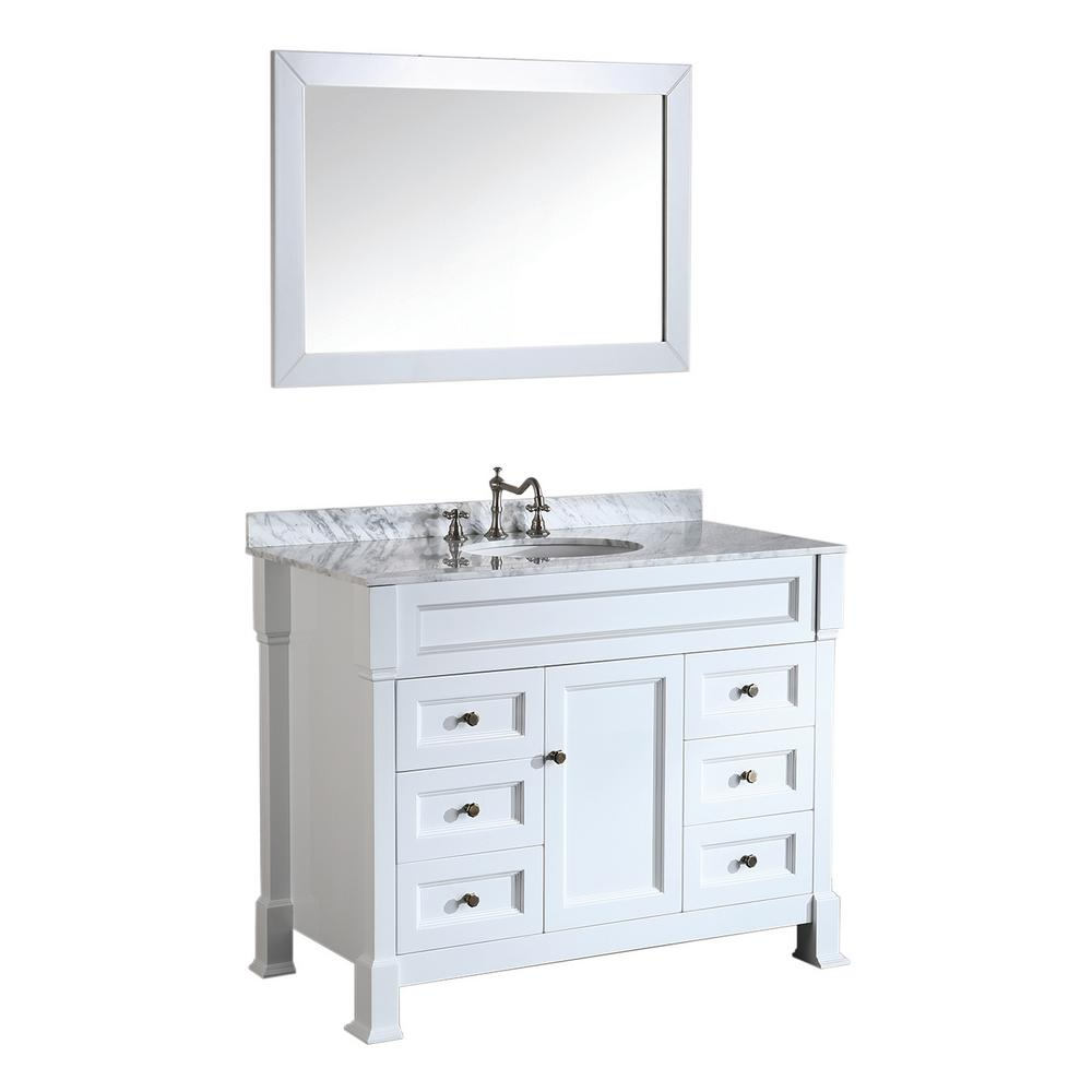 Bosconi Bosconi 43 In W Single Bath Vanity In White With White Carrara Marble Vanity Top In White With White Basin And Mirror Sb 278wh The Home Depot Marble Vanity Tops Bath