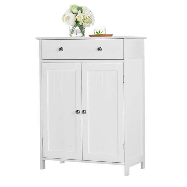 Yaheetech White Floor Cabinet Cupboard With 2 Doors 1 Drawer Bathroom Kitchen Storage Walmart Com In 2020 Bathroom Floor Cabinets Bathroom Standing Cabinet Wooden Bathroom Floor