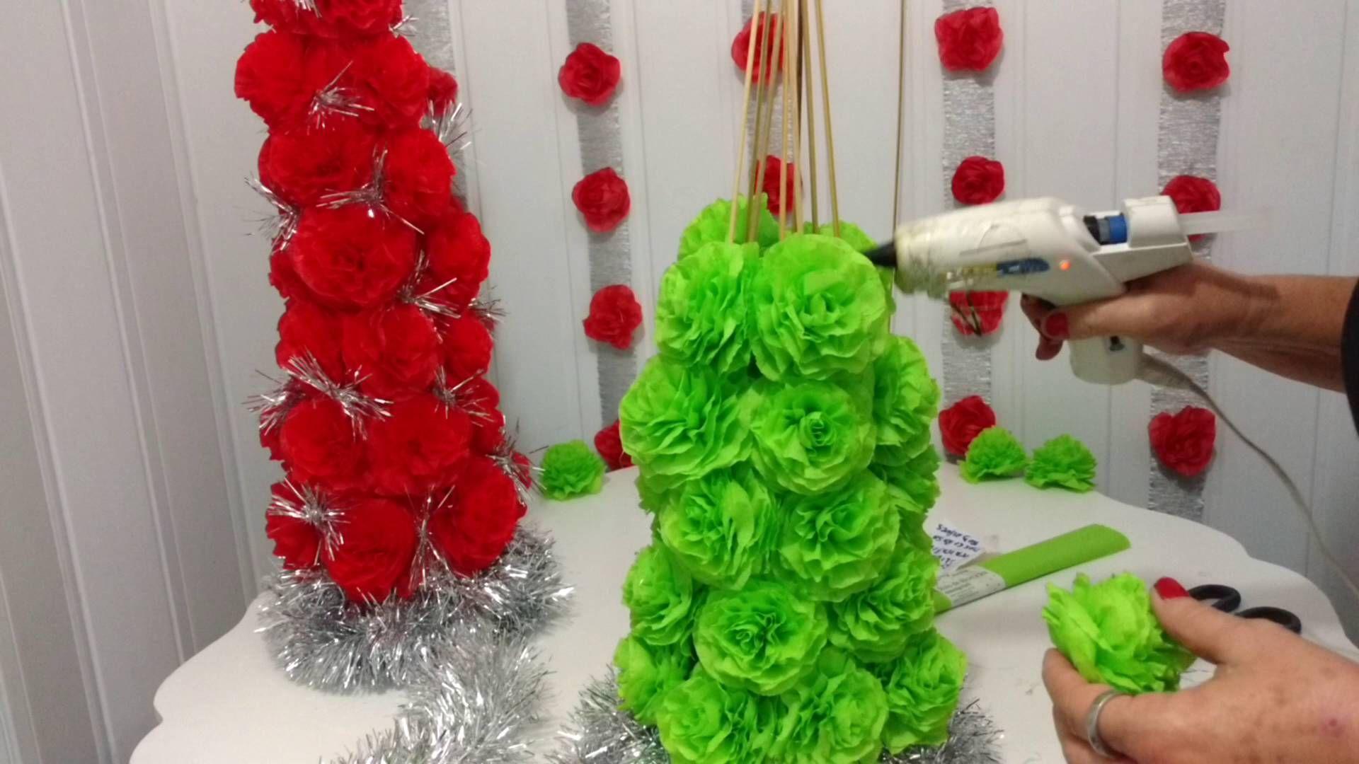 Aula 44 Como Fazer Uma Arvore De Natal Com Flores De Papel