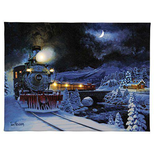 "Mr. Christmas 8"" x 10"" IlluminArt Lighted Canvas #62- Train Express"