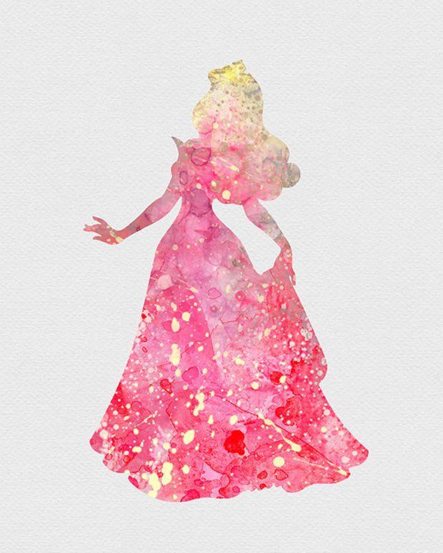 Princess Aurora Sleeping Beauty Watercolor Art I Papel De