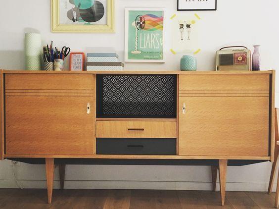 Buffet enfilade vintage rénovée et relookée par les jolis meubles