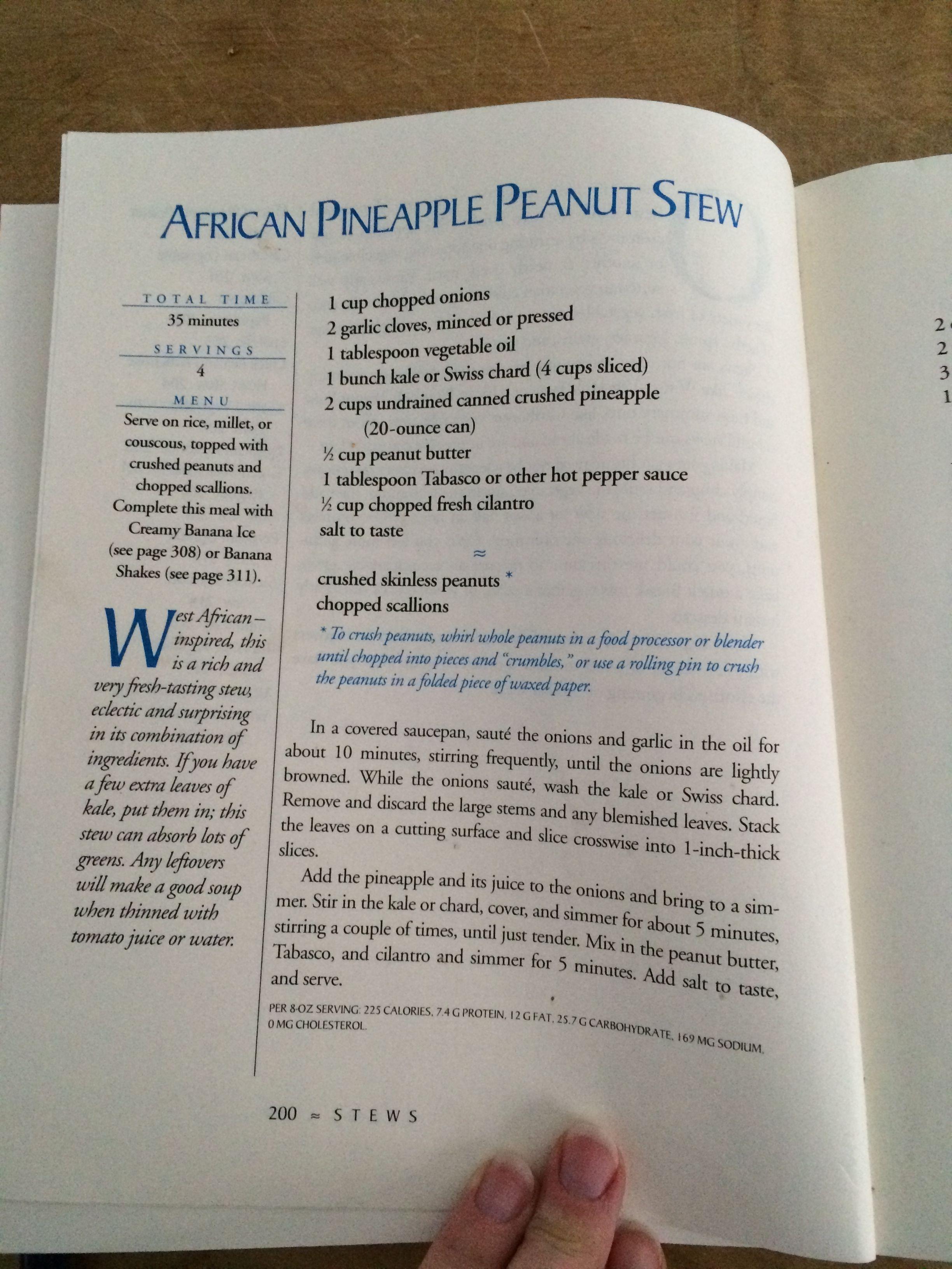 Moosewood African Pineapple Stew