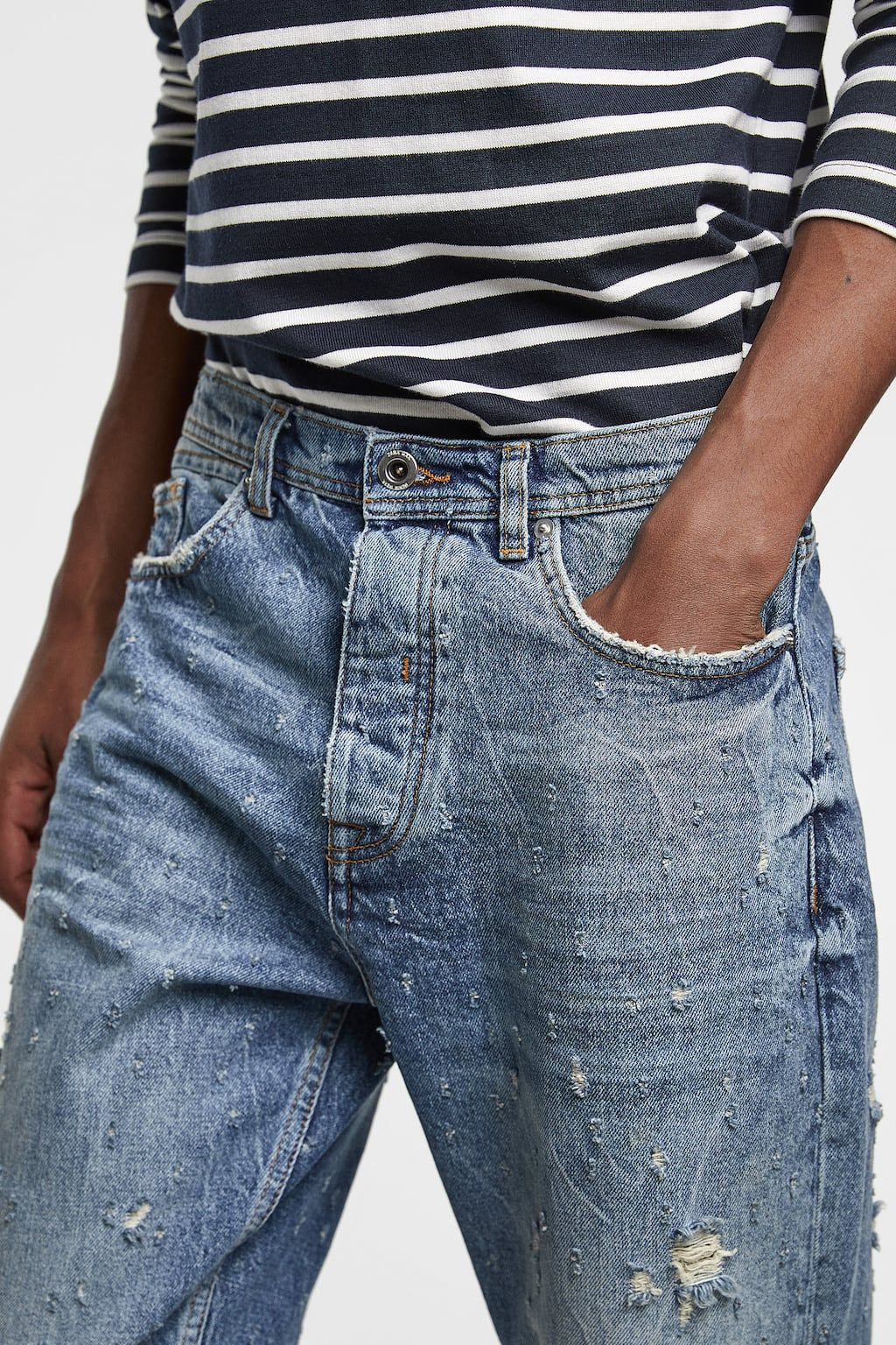 Image 5 of cropped loose fit jeans from zara with images