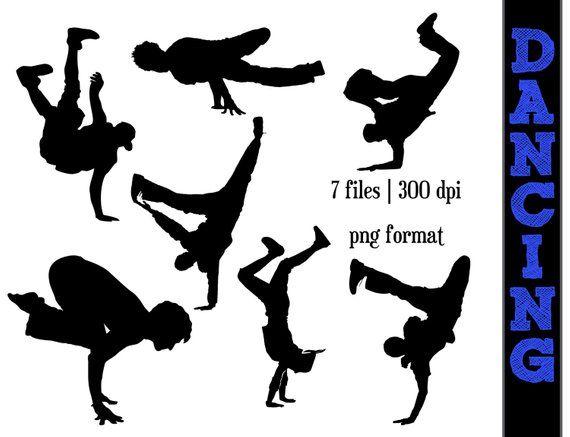 1a10828f699d8 Break Dancing Silhouettes // Dance Silhouette // Dancer Clipart ...