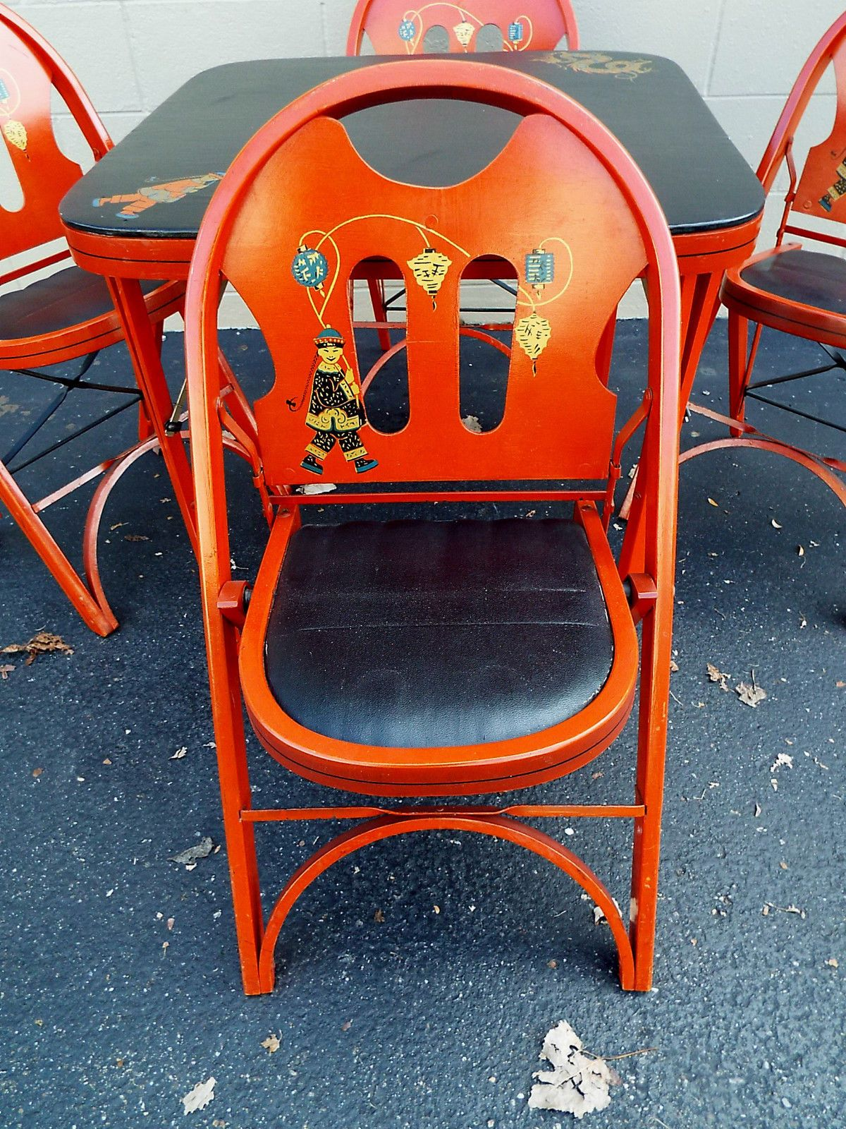 Vintage Bridge Card Bridge MahJong Table folding Chairs Oriental
