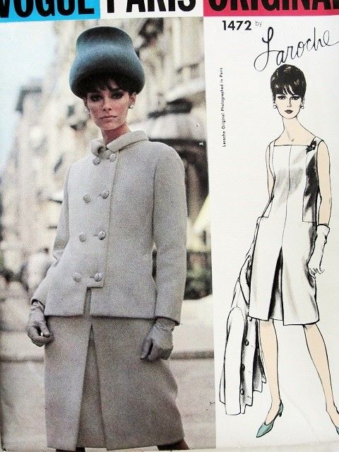 1960s ELEGANT Laroche Dress and Jacket Pattern VOGUE Paris Original ...