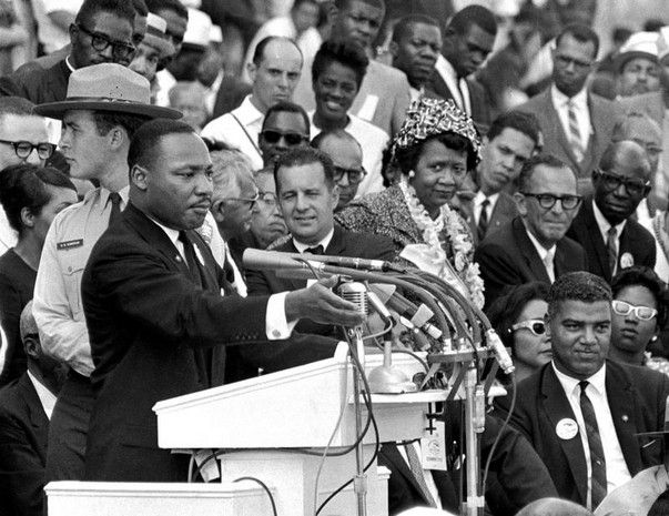 "Dorothy Height seen neart Rev. Martin Luther King Jr. as he  delivers his ""I Have a Dream ..."