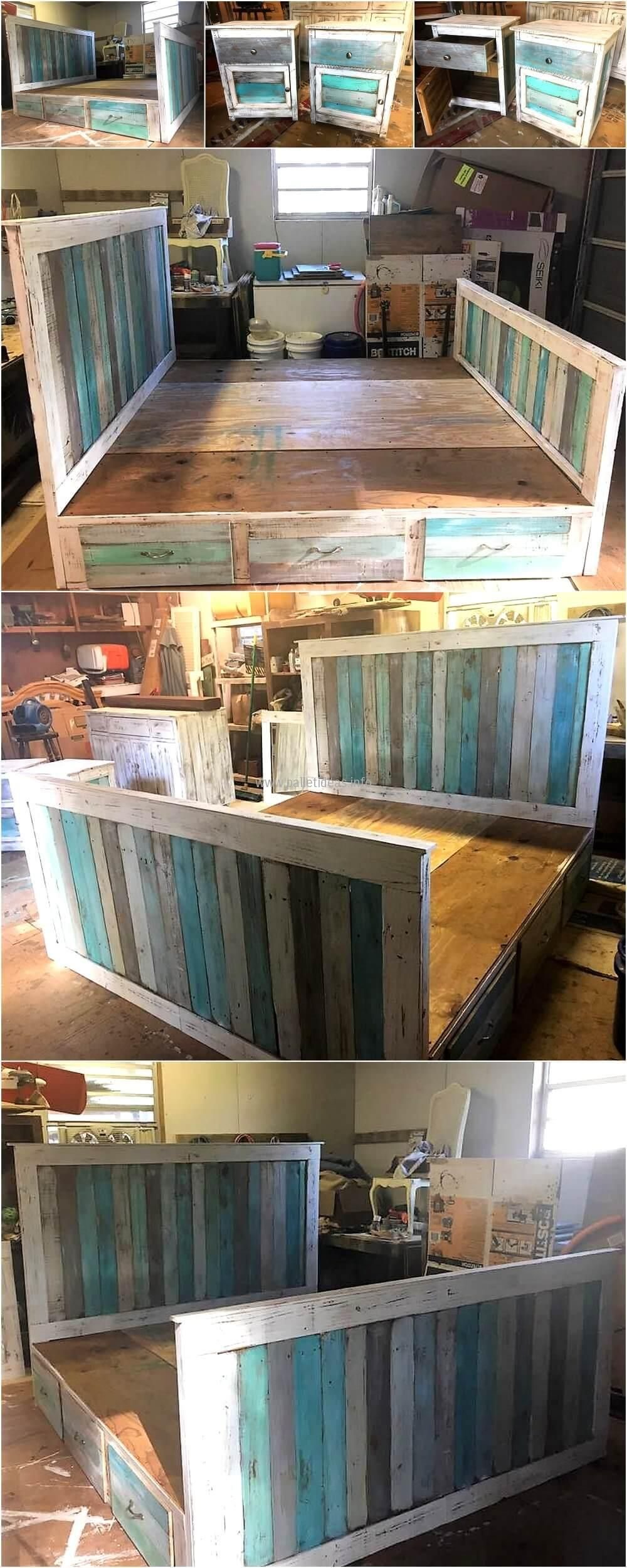 Reclaimed Wood Pallets King Bed with Headboard And Nightstands   DIY ...