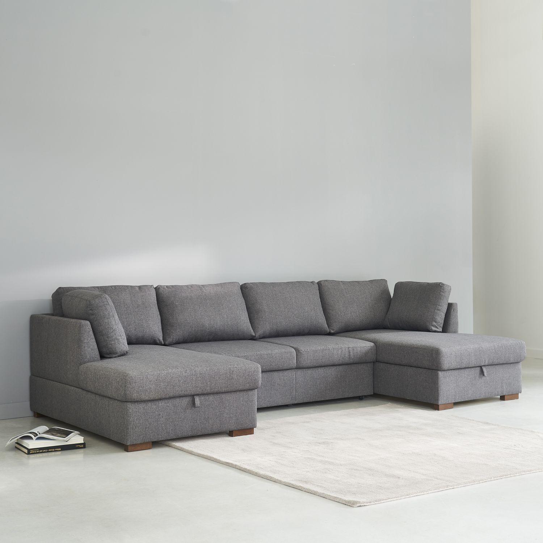 Grey 7 Seater U Shaped Sofa Bed Maisons Du Monde