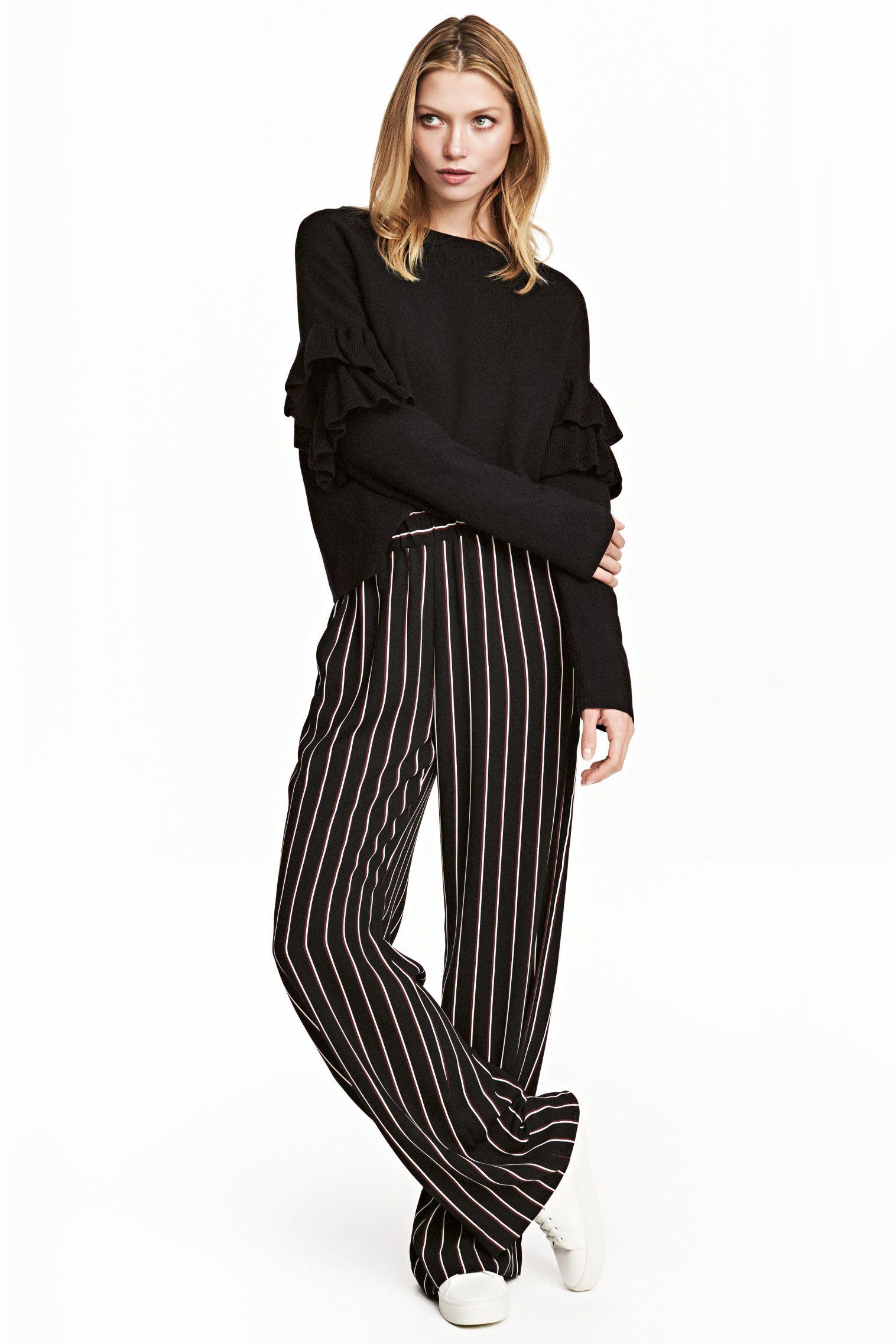 Pantalon large , Noir/rayé ,