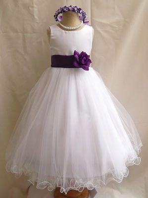 a7709ec05f7 WHITE PURPLE WEDDING PAGEANT EASTER FLOWER GIRL DRESS 18M 24M 2 4 6 8 10 12  14