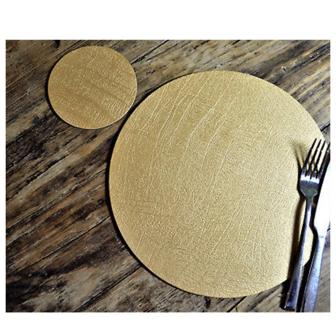 Set 4 Classic Gold Round Leatherboard Placemats 4 Coasters Uk Made Table Mats P P Included In Price First Class Recorde Bonded Leather Classic Gold Gold Bond