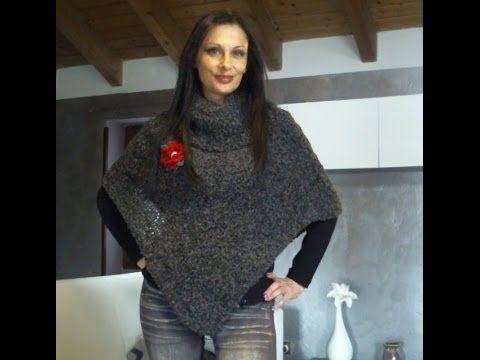 MAGLIA TUTORIAL: COME FARE UN PONCHO DA DONNA SEMPLICISSIMO 1 di 3 - YouTube