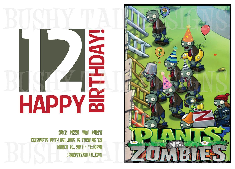 Plants vs zombies birthday invitation 1200 via etsy plants plants vs zombies birthday invitation 1200 via etsy kristyandbryce Choice Image