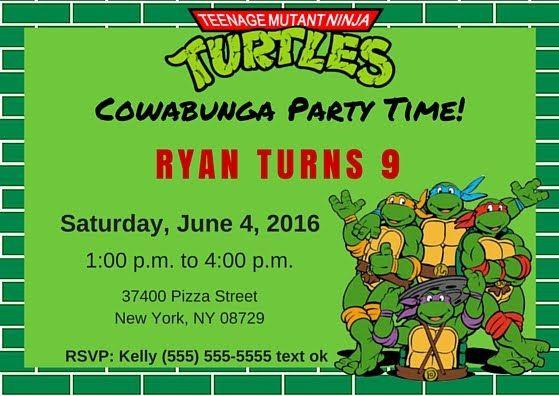 Free TMNT Invitation Template. Teenage Mutant Ninja Turtles.   TMNT ...