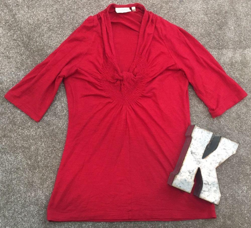 Deletta Anthropologie Red Shirt Women's Sz S* #Deletta #KnitTop