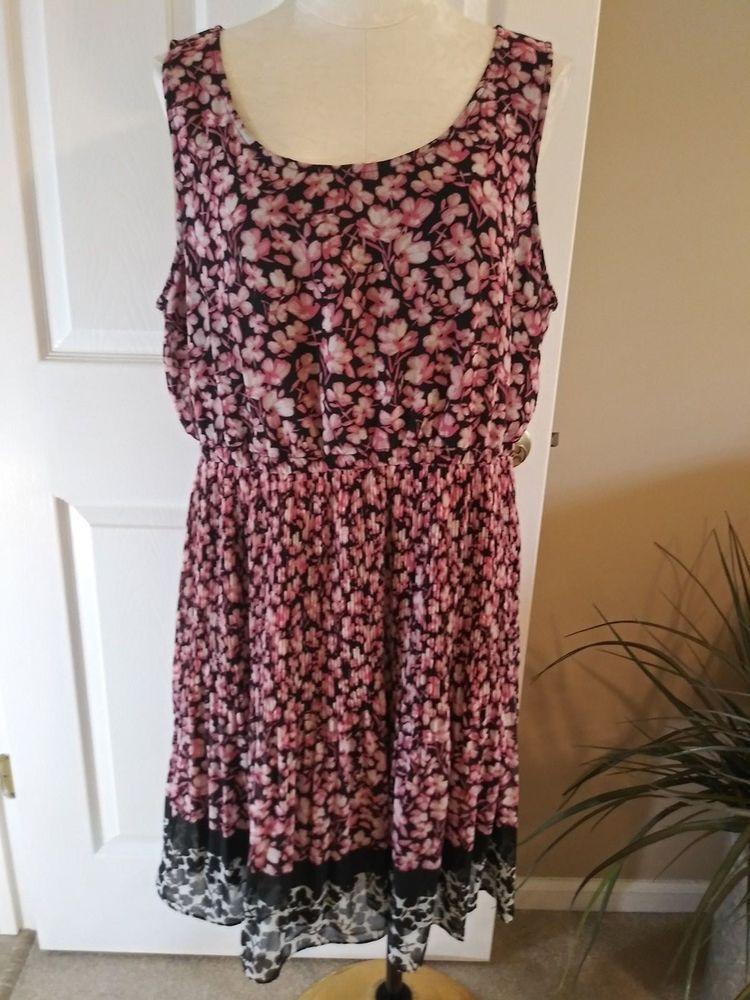 b9b598b02a5d1 Womens XL ELLE Multicolor Sleeveless Elastic Waist Pink Floral Print Dress  NEW #fashion #clothing