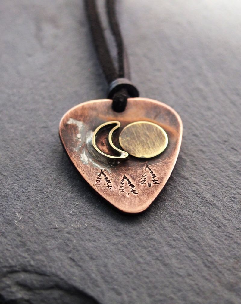 Personalized guitar pick necklace Mens personalized necklace mens