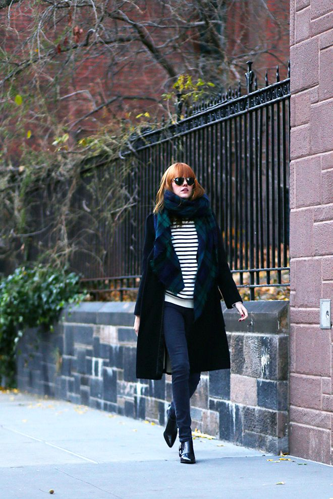 Striped sweater and a long coat - QuinnCooperStyle.com