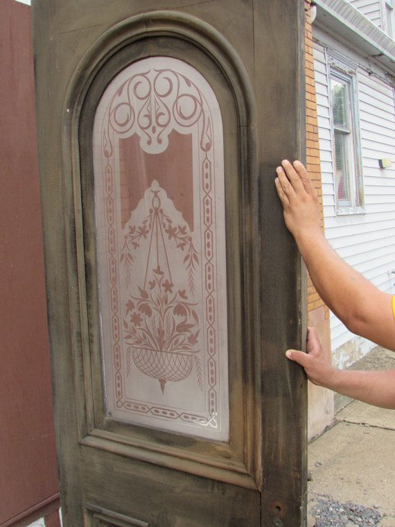Antique Victorian Era DOOR. Wheel Cut Etched Glass Window. Solid Wood.  Recessed Panels - Antique Victorian Era DOOR. Wheel Cut Etched Glass Window. Solid