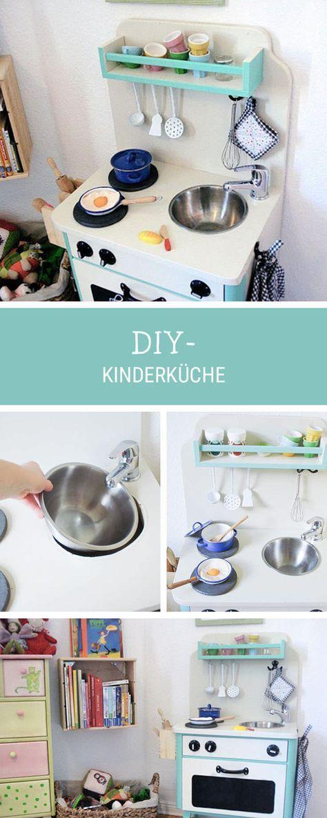 DIY-Anleitung Kinderküche aus einem alten Nachtschrank selber - günstige küchen ikea
