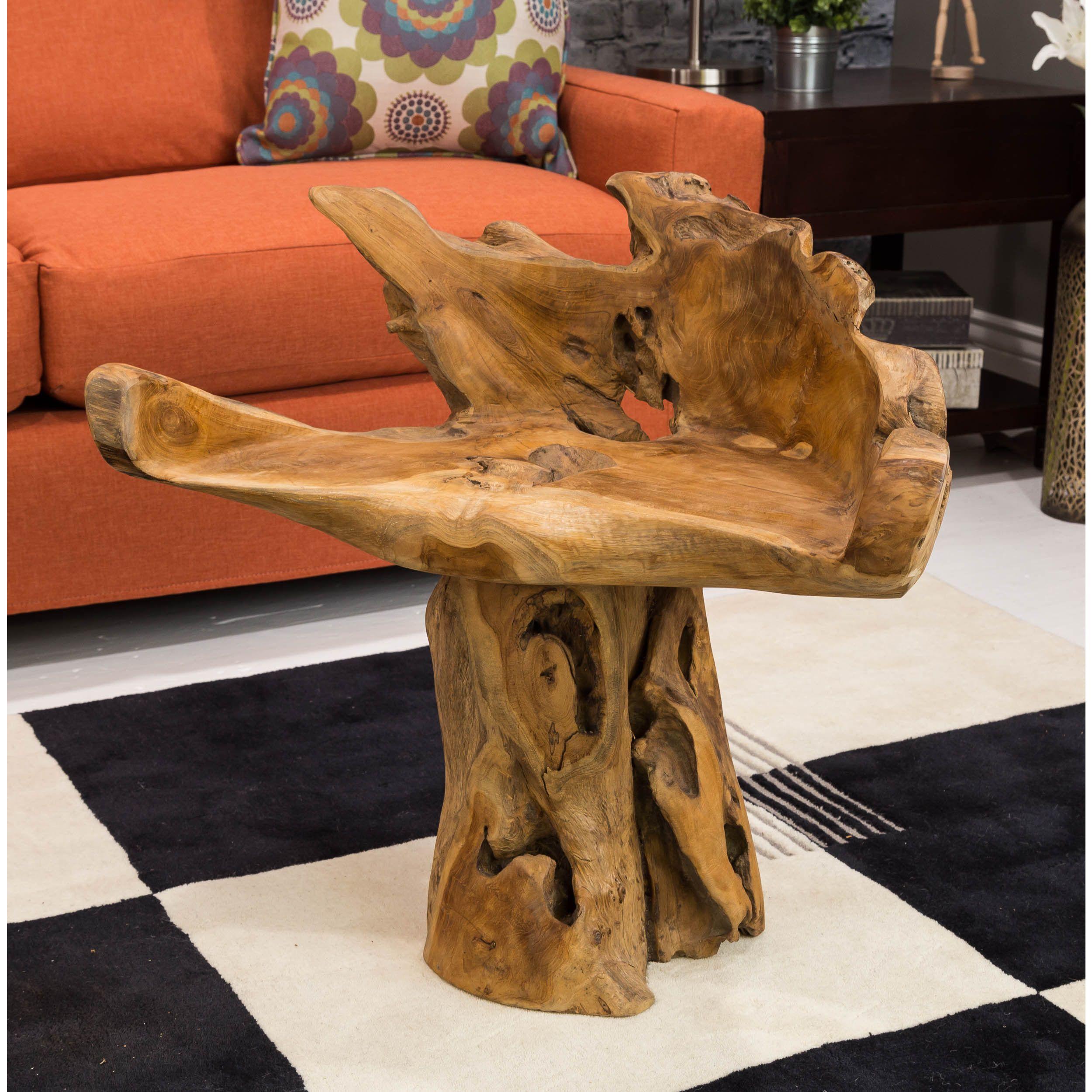 Somette Saco Indoor Teak Root Accent Table | Overstock.com ...
