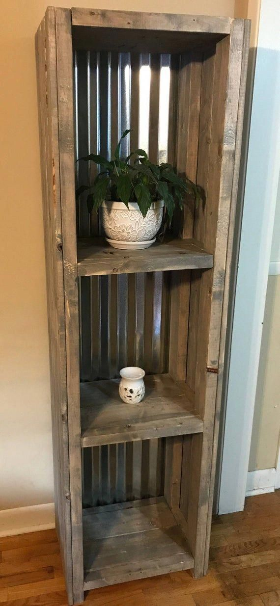 Farmhouse Shelving with Tin Backing and a Gray Rustic Finish Bathroom Shelving, Bookcase or Living Area Shelving for Decor